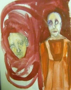 Fingernails in the Quick Brain in the Sky, Asleep for 2 yrs, Acrylic on Paper, 2010 Private Collection