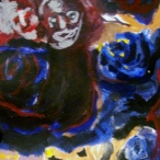 blue roses, 41/2in x 51/2in, Acrylic on Paper, 2013