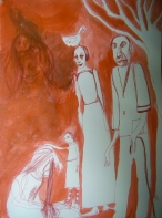 Red Ink and Acrylic on Paper 2013